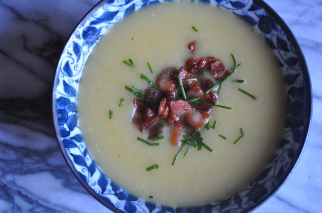 Potato-Leek Soup topped with Chopped Bacon and Chives